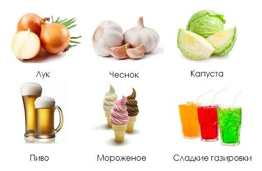 Продукты и напитки, вызывающие отрыжку